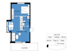 Lägenhet 1413, plan 14