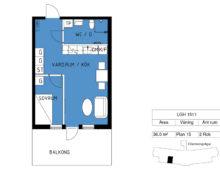Lägenhet 1511, plan 15